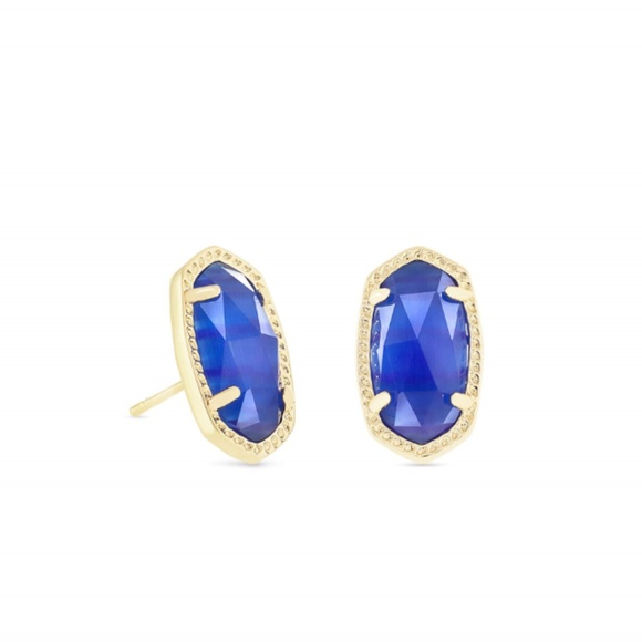 Kendra Scott Jewelry - Ellie Gold Stud Earrings in Cobalt Cats Eye
